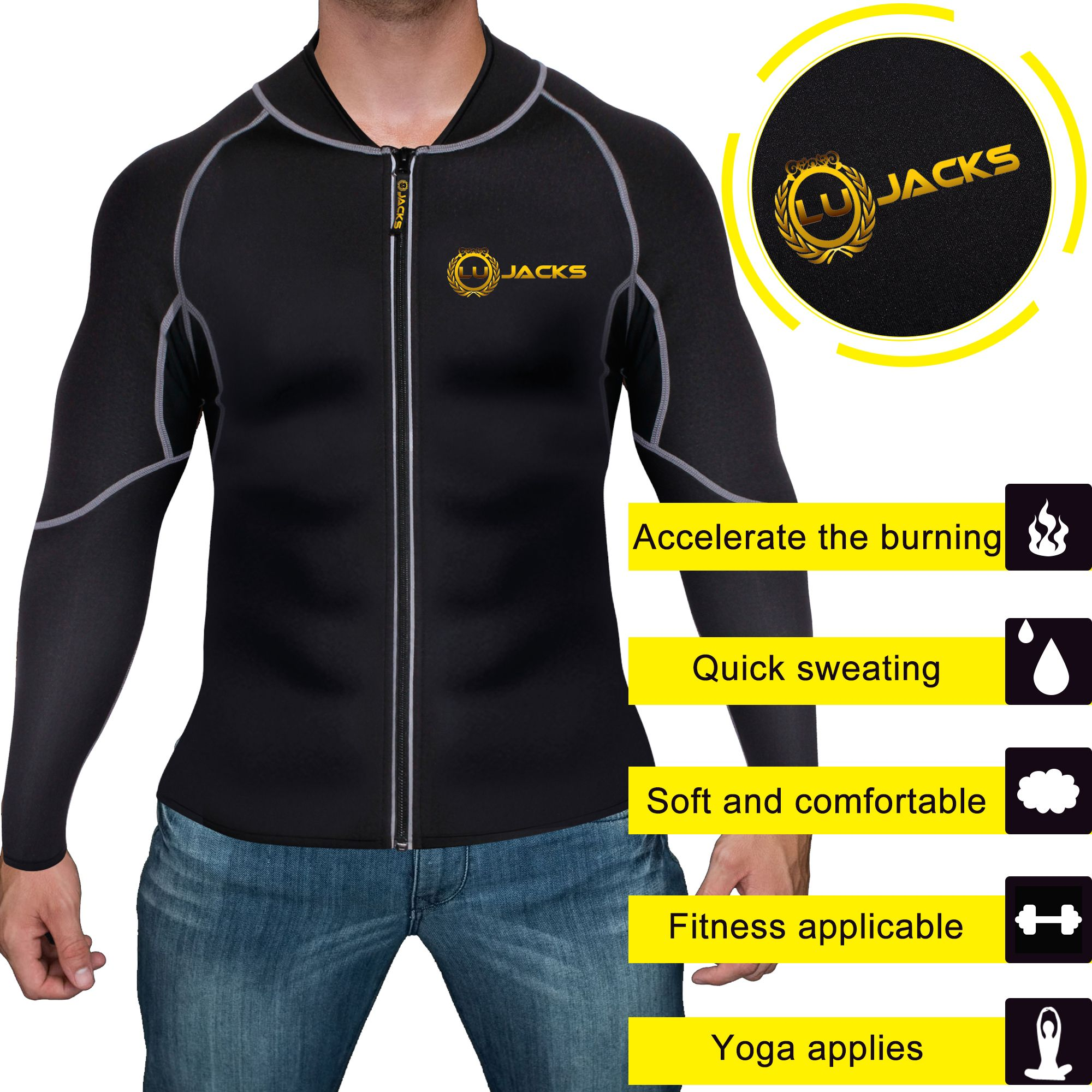 Men Exercise Sweat Hot Thermal Shirt Sauna Suit Neoprene Slimming Fitness Jacket