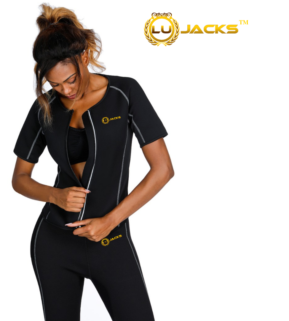 c1007b6a9 LU JACKS Women Hot Sweat Weight Loss Short Sleeve Shirt Neoprene Body  Shaper Sauna Jacket Suit Workout Long Training Clothes Fat Burner Top